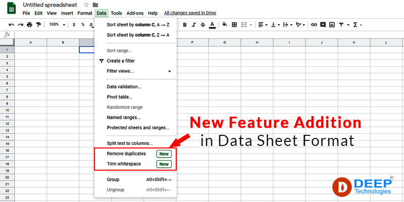 New Feature Addition in Google Data Sheet Format
